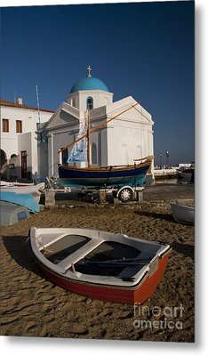 Red Boat In Mykonos At Dawn Metal Print by David Smith