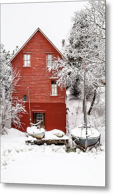 Red Boathouse In The Snow Metal Print by Benjamin Williamson