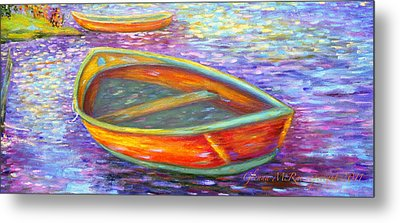 Red Boats On Autumn's Shore Metal Print by Glenna McRae