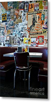 Red Booth Awaits In The Diner Metal Print