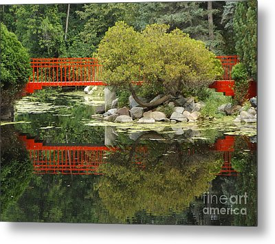 Red Bridge Close Reflection Metal Print