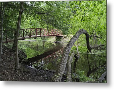 Red Bridge Over Peaceful Water Metal Print by MM Anderson