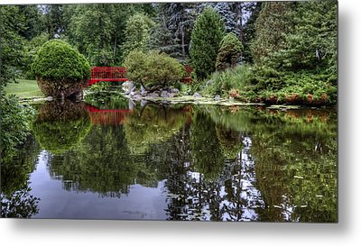Red Bridge Reflection Metal Print by Michael Donahue