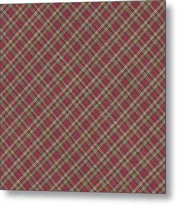 Red Brown And Green Diagonal Plaid Pattern Fabric Background Metal Print
