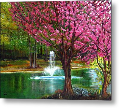 Red Bud Tree Metal Print by LaVonne Hand