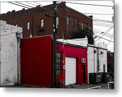 Red Building Metal Print by Nathan Hillis
