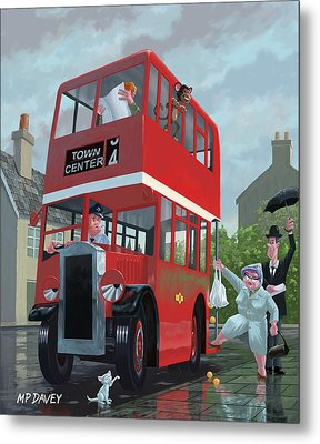 Red Bus Stop Queue Metal Print by Martin Davey