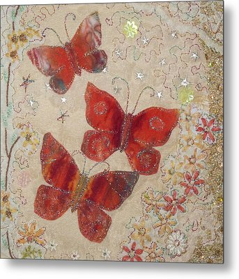 Red Butterflies Metal Print by Hazel Millington