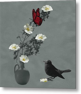 Red Butterfly In The Eyes Of The Blackbird Metal Print by Barbara St Jean