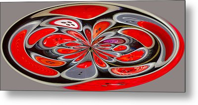 Red Button Orb Metal Print by Jean Noren
