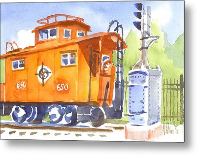 Red Caboose With Signal  Metal Print by Kip DeVore