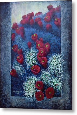 Metal Print featuring the painting Red Cactus by Rob Corsetti