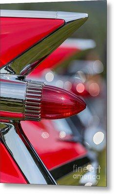 Red Cadillac Fins Metal Print