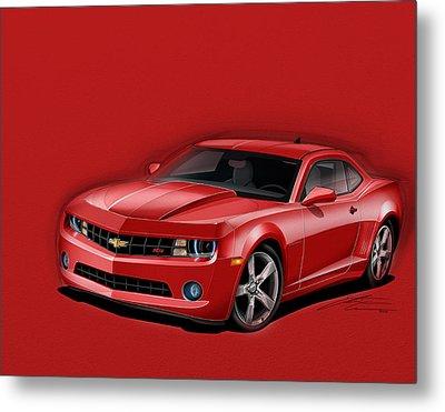 Red Camaro Metal Print by Etienne Carignan