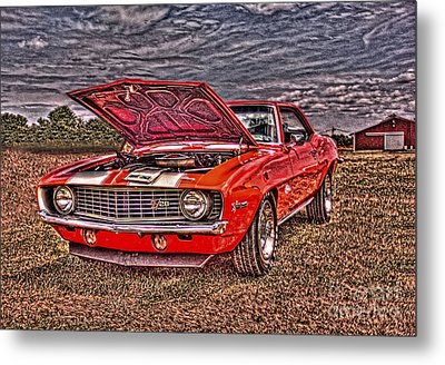 Red Camaro Metal Print by Jim Lepard