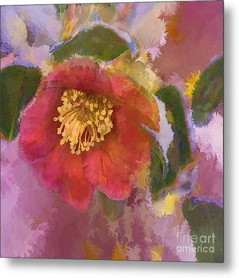 Red Camelia In A Winter Coat Metal Print by Terry Rowe