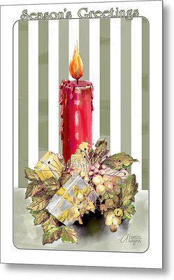 Metal Print featuring the digital art Red Candle by Arline Wagner