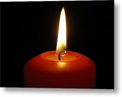 Red Candle Burning Metal Print by Matthias Hauser