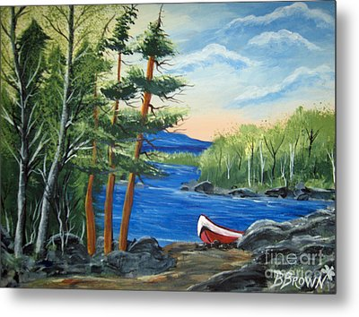 Metal Print featuring the painting Red Canoe by Brenda Brown