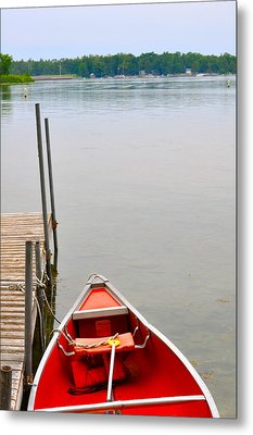 Red Canoe Metal Print by Jeremy Evensen