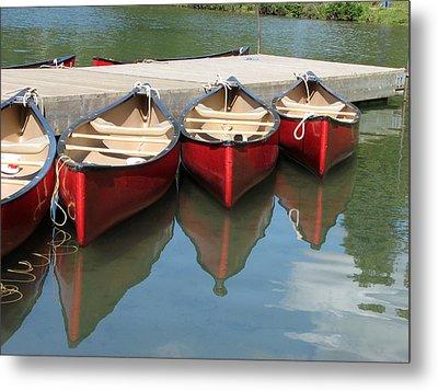 Red Canoes Metal Print