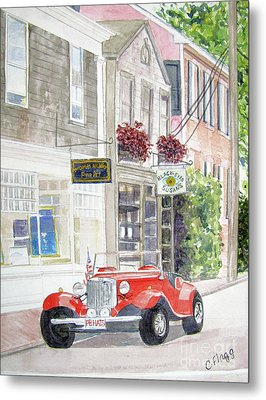 Metal Print featuring the painting Red Car by Carol Flagg