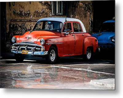 Red Car On Wet Street Metal Print