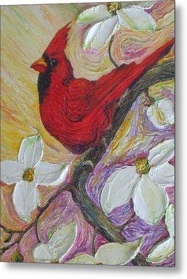 Red Cardinal And Dogwood Flowers Metal Print by Paris Wyatt Llanso