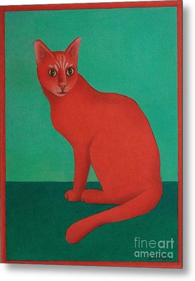 Metal Print featuring the painting Red Cat by Pamela Clements