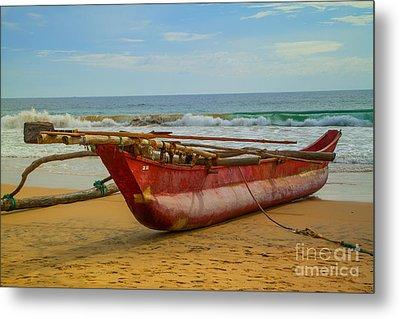 Red Catamaran At The Hikkaduwa Beach Metal Print by Regina Koch