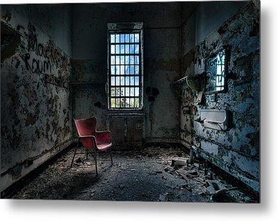 Red Chair - Art Deco Decay - Gary Heller Metal Print by Gary Heller