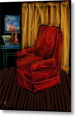 Red Chair At Night Metal Print by Russell Pierce