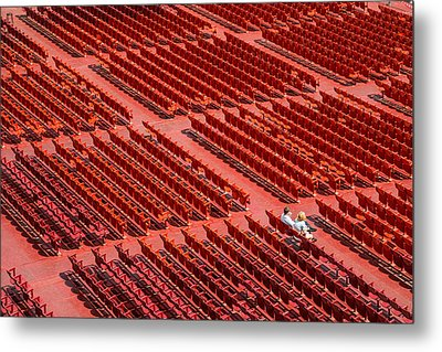 Red Chairs Metal Print by Dobromir Dobrinov
