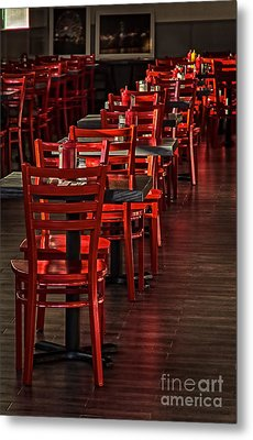 Metal Print featuring the photograph Red Chairs by Vicki DeVico