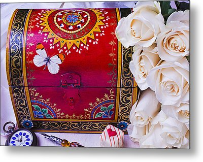 Red Chest And Butterfly Metal Print by Garry Gay