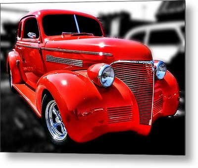 Red Chevy Hot Rod Metal Print by Victor Montgomery
