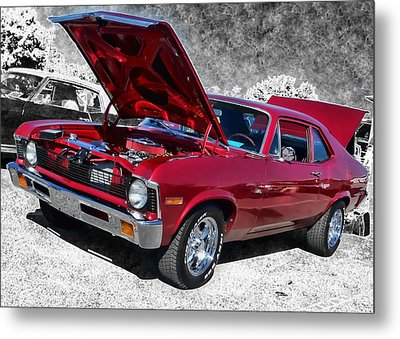 Red Chevy Nova Metal Print by Victor Montgomery