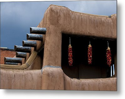 Red Chile Ristras Santa Fe Metal Print by Carol Leigh