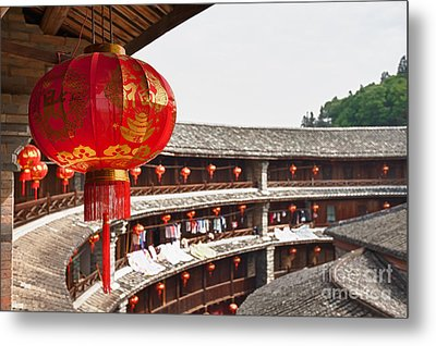 Red Chinese Lantern In A Hakka Tulou  Metal Print by Fototrav Print