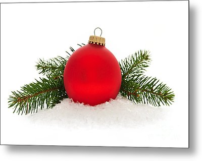 Red Christmas Bauble Metal Print