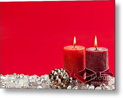 Red Christmas Candles Metal Print by Elena Elisseeva
