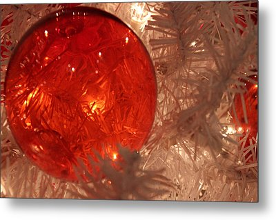 Red Christmas Ornament Metal Print by Lynn Sprowl