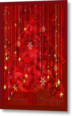 Metal Print featuring the digital art Red Christmas Tree by Arline Wagner