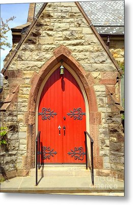 Metal Print featuring the photograph Red Church Door by Becky Lupe