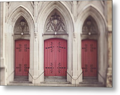 Red Church Doors Metal Print by Heather Green