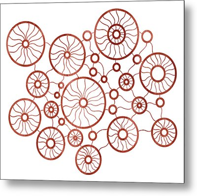Red Circles Metal Print by Frank Tschakert