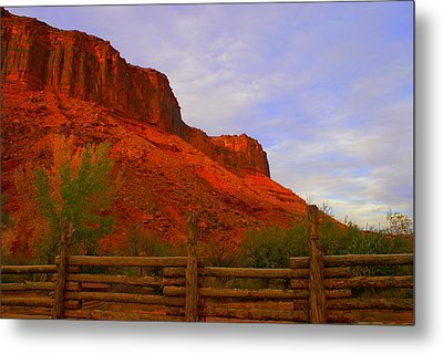 Red Cliffs Near Moab Ut Metal Print by Jerry Cahill