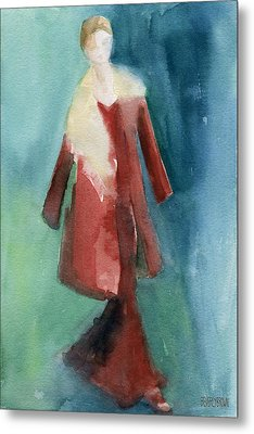 Red Coat And Long Dress - Watercolor Fashion Illustration Metal Print by Beverly Brown
