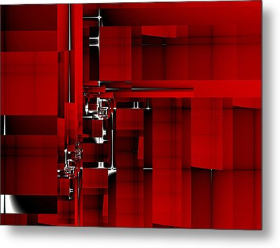 Red Construction I Metal Print by Richard Ortolano