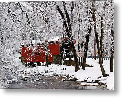 Red Covered Bridge Winter 2013 Metal Print by Deborah  Crew-Johnson